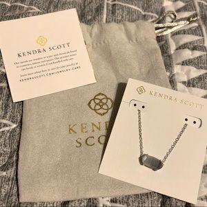 Kendra Scott Ever Silver Necklace Slate Cats Eye